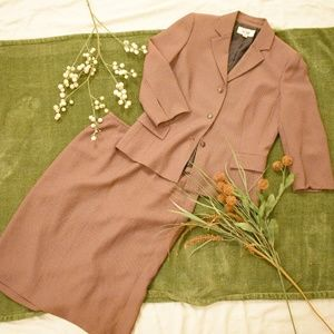 Le Suit Early 2000s Brown Skirt Suit